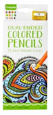 Crayola - Kétvégű színes ceruza hegyezővel, 12db