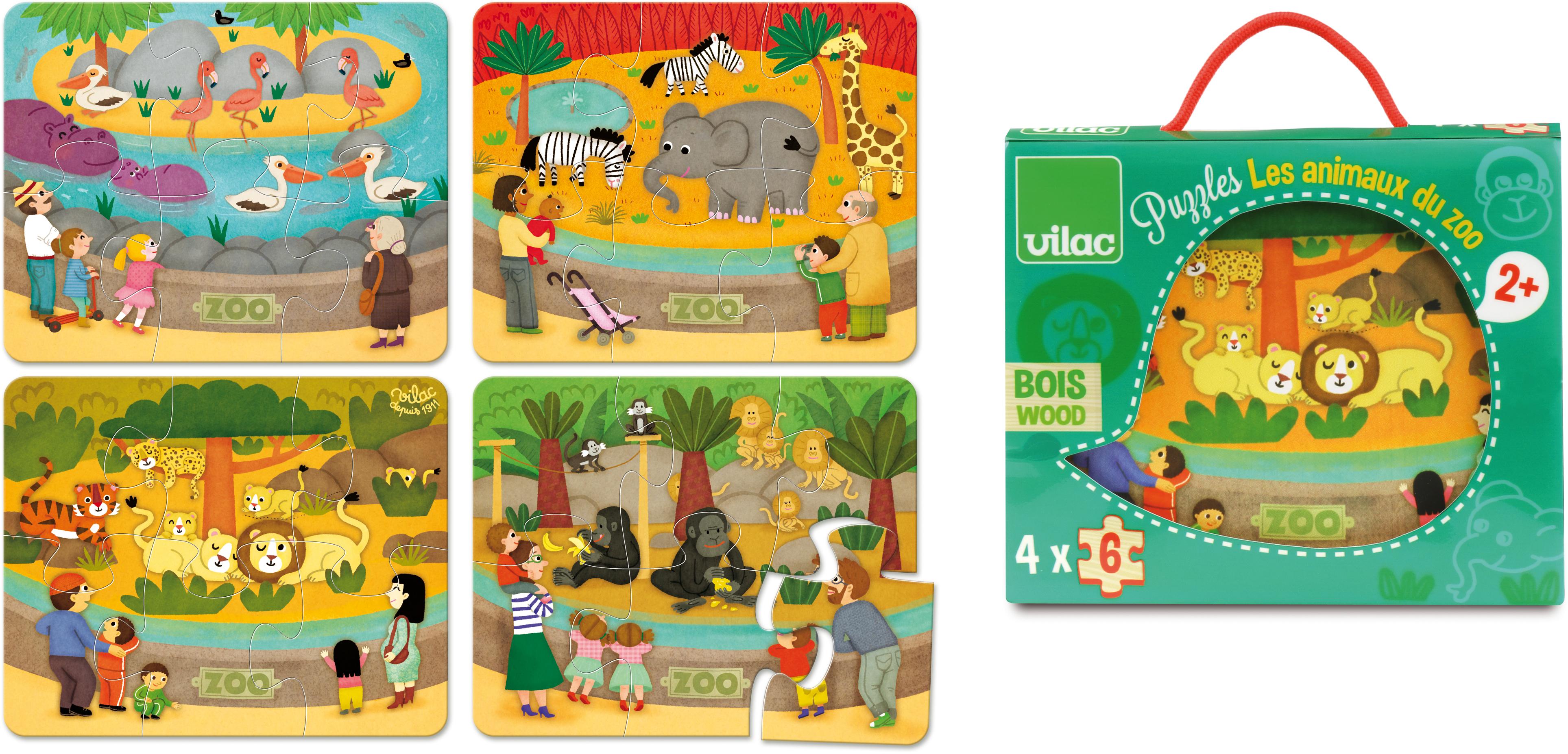 Állatkert - 4 puzzle fából