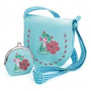 Hímzett táska pénztárcával - Cica
