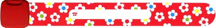 Infoszalag - piros virágos