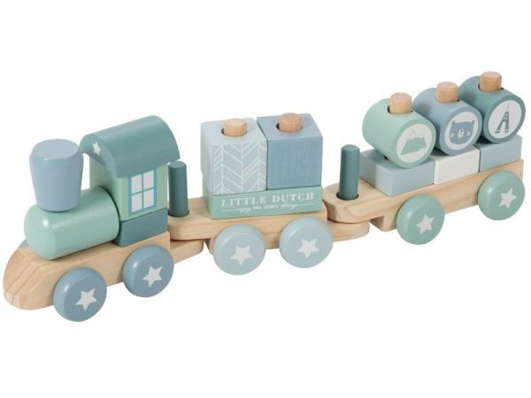 Fa játék vonat építőelemekkel - kék