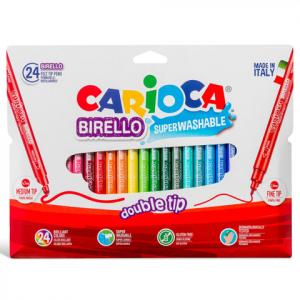 Carioca - Kétvégű színes filctoll készlet, 24db