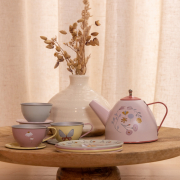 Fém teáskészlet - Virágok