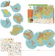Újraragasztható matricázó készlet - Állatok a világtérképen