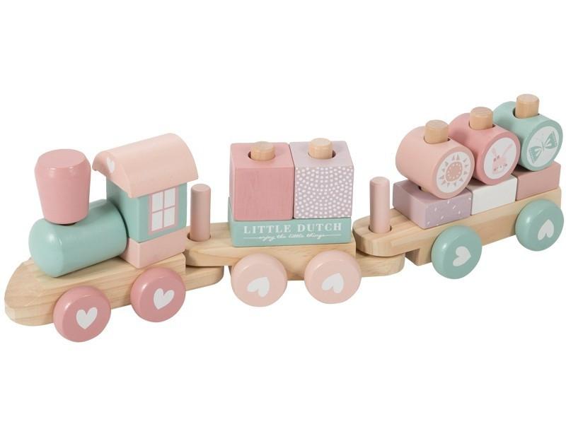 Fa játék vonat építőelemekkel - pink