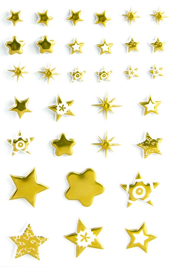 Cooky 3D matricák - Karácsonyi csillagok - arany
