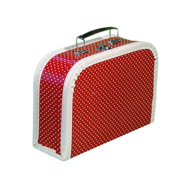 Bőrönd - piros, fehér pöttyös
