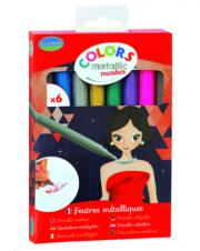 Metálfényű filctoll készlet - 6 szín