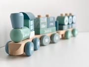 Fa játék vonat építőelemekkel - kék, bükk